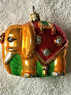 "Thomas Glenn ""Elephant - Gold & Red"" Molded Christmas Ornament"