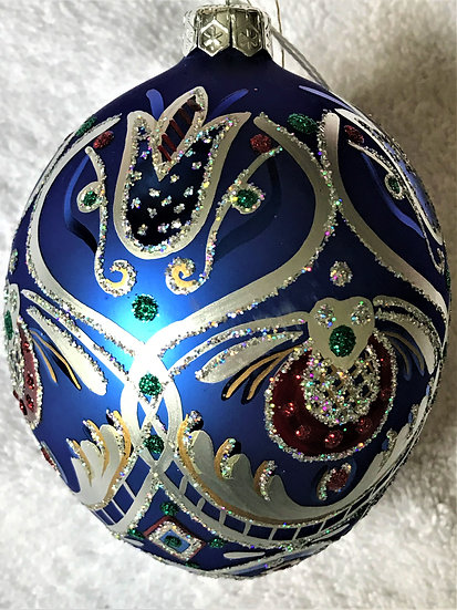 "#1002 - Thomas Glenn ""Blue & Red Egg"" Faberge Egg Christmas Ornament"