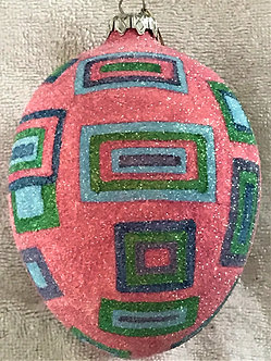 "#718PK - Thomas Glenn ""Egg with Squares - Pink"" Egg Christmas Ornament"