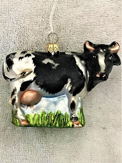 "Thomas Glenn - ""Cow - Black & White"" Molded Christmas Ornament"
