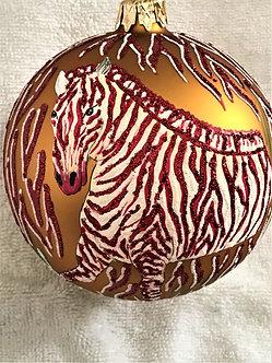 "#628R - Thomas Glenn ""Zebra - Red"" Ball Christmas Ornament"