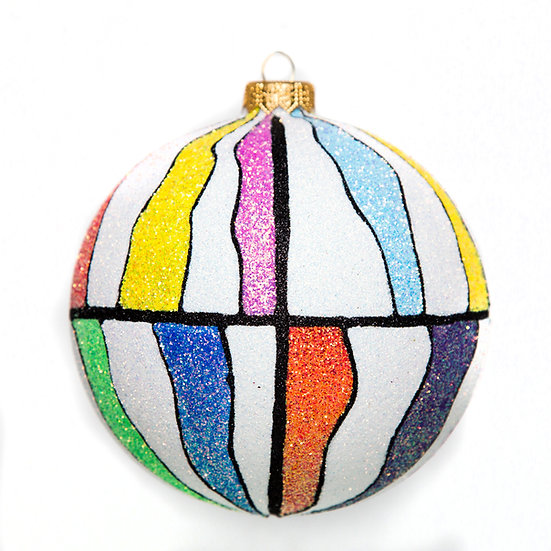 "#1702 - Thomas Glenn ""Funky Beach Ball"" Ball Ornament"