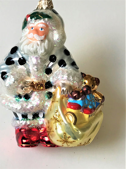 "Thomas Glenn ""Santa - Black Dot"" Molded Christmas Ornament"