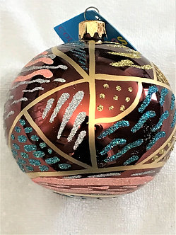 "#6T - Thomas Glenn ""Multi Colors on Bronze"" Ball Christmas Ornament"