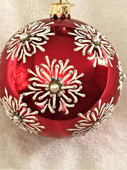 "#755 - Thomas Glenn ""Snowflake Red"" Ball Christmas Ornament"