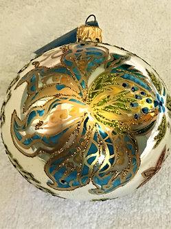 "#150 - Thomas Glenn ""White with Blue Flowers & Butterflies"" Ball Ornament"