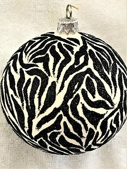 "#719BK - Thomas Glenn ""Zebra Stripes - Black"" Ball Christmas Ornament"