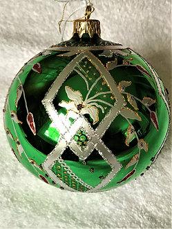 "#68- Thomas Glenn ""Red Drop on Green"" Ball Christmas Ornament"