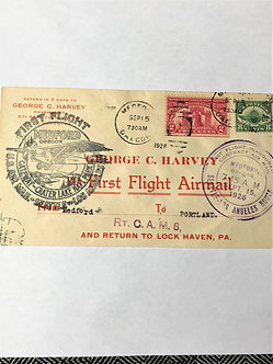 """Stamps - US Covers - """"C4 + 627 First Flight"""" - 1926 Medford, Oregon"""