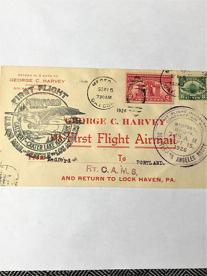 "Stamps - US Covers - ""C4 + 627 First Flight"" - 1926 Medford, Oregon"
