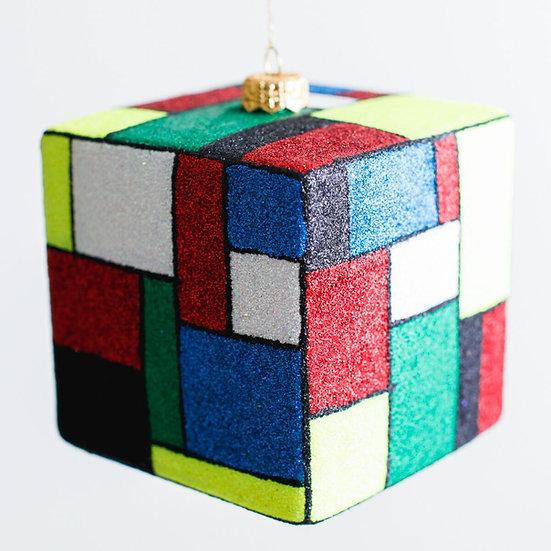 "#208C - Thomas Glenn ""Mondrian"" Cube Ornament"
