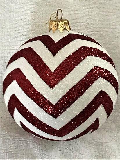 "#14-2017R - Thomas Glenn ""Zig Zag - Red & White"" Ball Christmas Ornament"