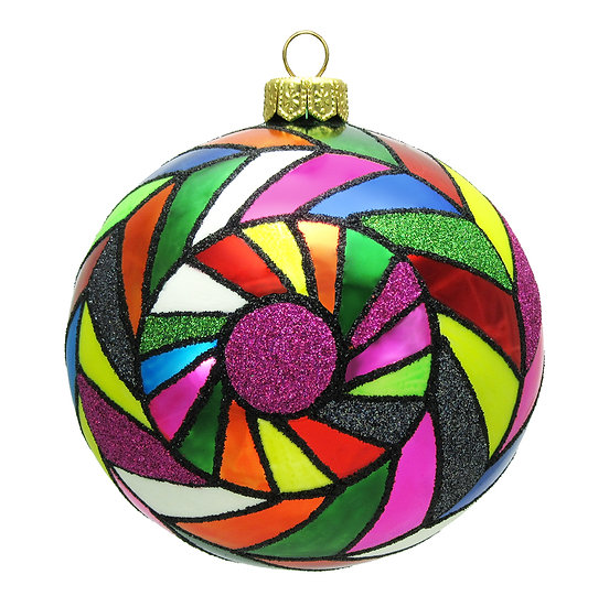 "#1609 - Thomas Glenn ""Tiles Multi Colored"" Ball Ornament"