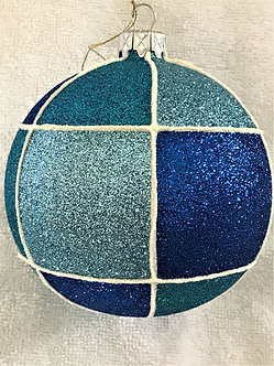 "#537 - Thomas Glenn ""Check - Blue on Blue"" Ball Christmas Ornament"