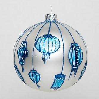 """#1773 - Thomas Glenn """"Blue White Lanterns"""" Ornament"""
