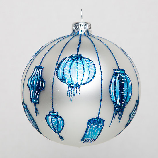 "#1773 - Thomas Glenn ""Blue White Lanterns"" Ornament"