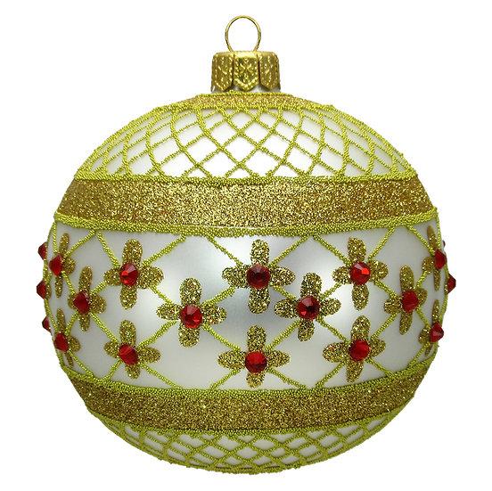 "#635W - Thomas Glenn ""White Coronation"" Ball Ornament"