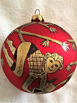 "#145 - Thomas Glenn ""Monkey Ball - Red"" Ball Christmas Ornament"