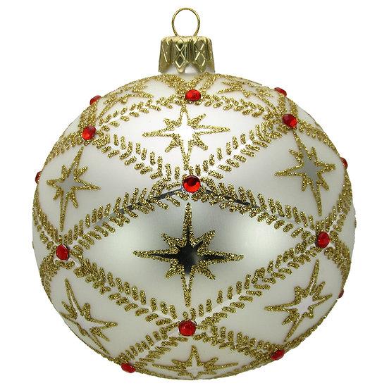 """#716W - Thomas Glenn """"Stars on White"""" Ball Ornament"""