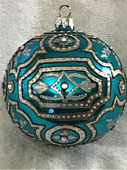 "#820TQ - Thomas Glenn ""Palace - Turquoise"" Ball Christmas Ornament"