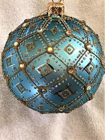 "#395LB - Thomas Glenn ""Aurora - Light Blue"" Ball Christmas Ornament"