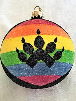 """#26 - Thomas Glenn """"Bear Paw on Rainbow Flag"""" Ball Christmas Ornament"""