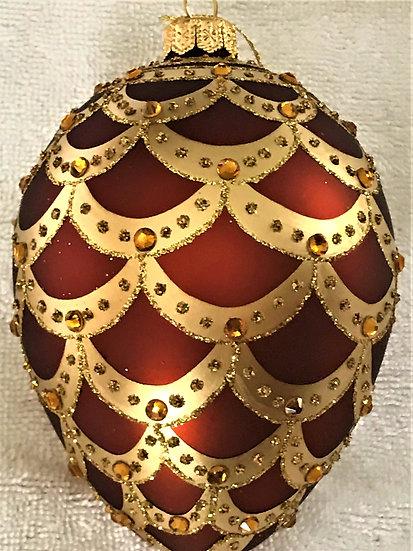 "#704BR - Thomas Glenn ""Pinecone - Brown"" Egg Christmas Ornament"