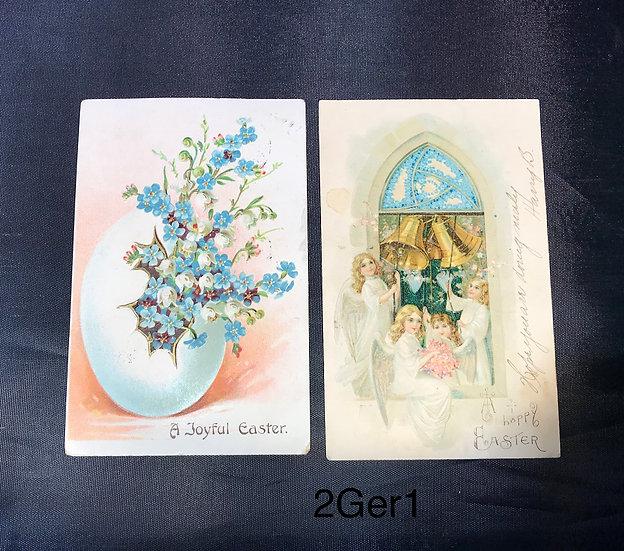 Vintage Easter Postcards - 2 German Cards 1908