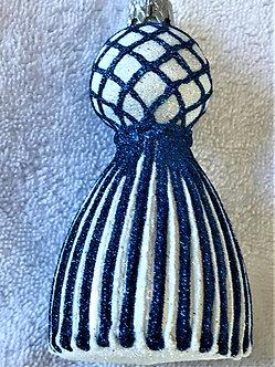 "#1656BW-Z - Thomas Glenn - ""Tassel - Blue & White Prototype"" Molded Ornament"