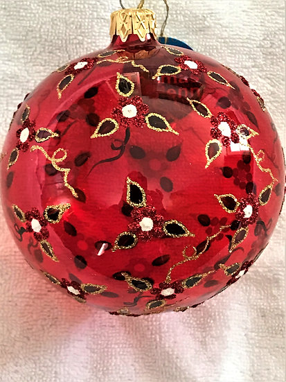"""#370 - Thomas Glenn """"Clear Red Glass with Leaves"""" Ball Christmas Ornament"""