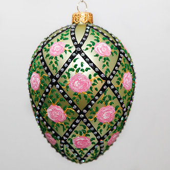 "#2081 - Thomas Glenn ""Rose Trellis - Green"" Faberge Egg Christmas Ornament"