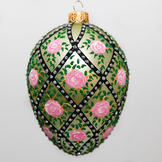"#2081 - Thomas Glenn ""Rose Trellis - Green"" Faberge Egg Christmas Ornament"