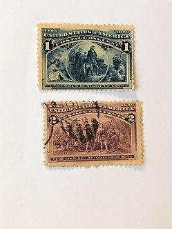 "Stamps ""US 1893 Columbian Expo Scott #230-231"" 1c deep blue & 2c brown violet"