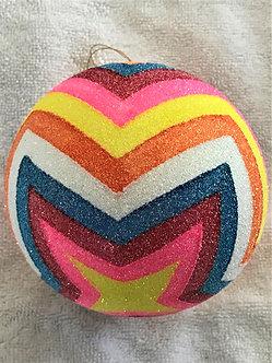 "#357 - Thomas Glenn ""ZIg Zag Yellow"" Ball Christmas Ornament"