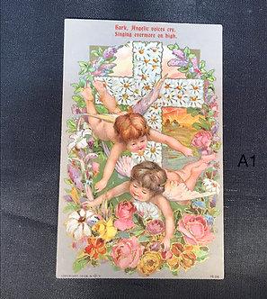 Vintage Easter Postcard - Angels and Cross