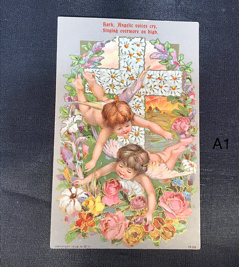 Vintage Easter Postcard - Angels and Cross