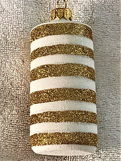 "#1649 - Thomas Glenn ""Cylinder - Golden Opulent"" Cylindrical Christmas Ornament"