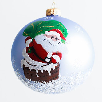 """#1925 - Thomas Glenn """"Down The Chimney With Care"""" Ball Ornament"""