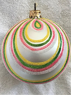 "#365 - Thomas Glenn ""Pink Green White Swirl"" Ball Christmas Ornament"