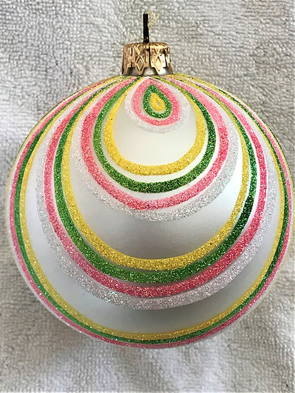 "#365 - Thomas Glenn ""Pink Green White Swirl"" Ball Christmas Ornament"