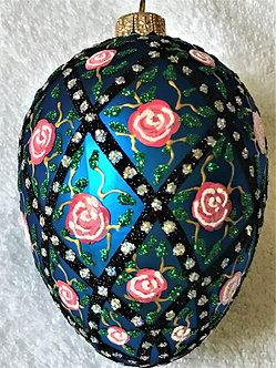 "#53 - Thomas Glenn ""Rose Trellis on Blue"" Faberge Egg Christmas Ornament"