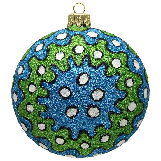 "#1504B-G - Thomas Glenn ""Blue & Green Pop Art"" Ball Ornament"