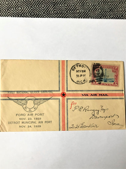 """Stamps - US Covers - """"C11 First National Glider Carnival"""" 1929 Detroit, Mich."""
