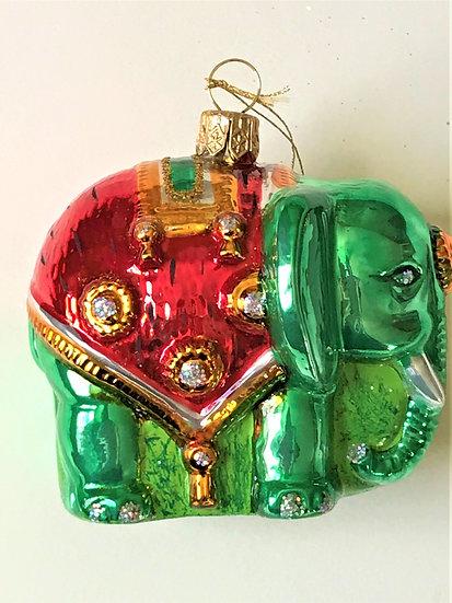 "Thomas Glenn ""Elephant - Green"" Molded Christmas Ornament"