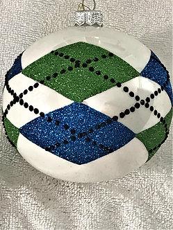 "#1607 - Thomas Glenn ""Argyle - Blue & Green"" Ball Christmas Ornament"