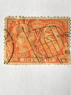 "Stamps ""Canada #51"" 1-cent orange Jubilee Issue - Used"