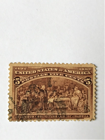 "Stamps ""US Columbian Expo 1893 Scott #234"" 5c chocolate"