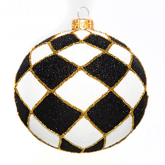 """#772B-W - Thomas Glenn """"Black and White Harlequin"""" Ball Ornament"""