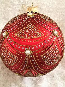 "#633R - Thomas Glenn ""Scallop - Red"" Ball Christmas Ornament"