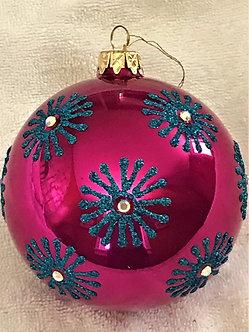 "#726TQ - Thomas Glenn ""Turquoise on Coral"" Ball Christmas Ornament"